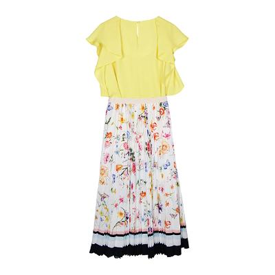ruffle sleeveless blouse & floral pattern skirt white